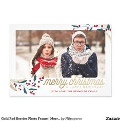 This whimsical and festive holiday Christmas card features a photo frame, winterberries and says Merry Christmas and Happy New Year!