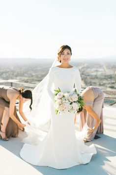 Set at the AT&T Center in downtown L. this rooftop wedding includes panoramic city views and a first look on a hellipad. Wedding Dresses With Straps, Fit And Flare Wedding Dress, Classic Wedding Dress, Bohemian Wedding Dresses, Colored Wedding Dresses, Modest Wedding Dresses, Wedding Gowns, Wedding Rings, Bling Wedding