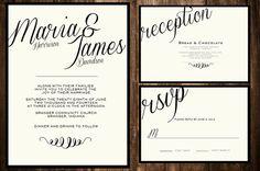 Printable DIY Script Wedding Invitations by PerleFemmeDesigns, $35.00
