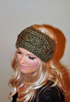 Knit Cabled Headband Crochet Earwarmer WOOL Knit Ear by lucymir, $40.99