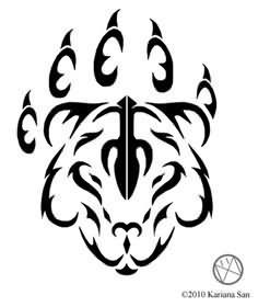Tribal Bear And Claw Tattoo Design