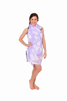 Pom Pom Sarong | Oyster Lavender | Navy Pom Poms | Made in America | Sarong | Cover Up | Beach Wear | Resort Wear | Beach Style | Summer | Beach Cover Up | Beach Bag | Classic Style | Beach Wrap | Pom Poms | Fun Prints