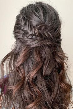 36 Chic And Easy Wedding Guest Hairstyles ❤️ wedding guest hairstyles long d. - 36 Chic And Easy Wedding Guest Hairstyles ❤️ wedding guest hairstyles long dark hair with curls - Wedding Guest Hairstyles Long, Prom Hairstyles For Short Hair, Chic Hairstyles, Simple Hairstyles, Pretty Hairstyles, Long Thin Hair, Curls For Long Hair, Thick Hair, Wedding Hair Inspiration