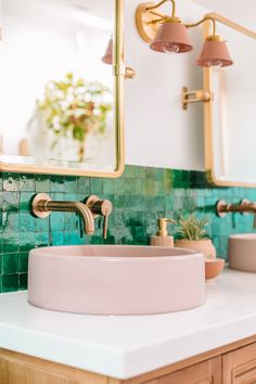 pink bathroom Jade green zellige tiles (handmade Moroccan terracotta), gold hardware, and a blush pink cement bowl basin sink make a stylish statement in this LA master bathroom. Bathroom Sink Units, Diy Bathroom, Bathroom Tile Designs, Gold Bathroom, Bathroom Styling, Bathroom Interior, Master Bathroom, Bathroom Ideas, Green Bathroom Tiles