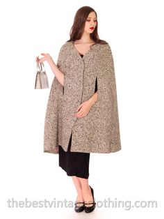 1950s Vintage SYBIL CONNOLLY Irish Tweed Salt & Pepper Cape Coat S M – The Best Vintage Clothing
