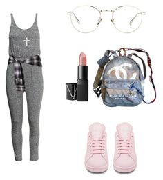 """5/14/16"" by superflylala ❤ liked on Polyvore featuring adidas, H&M, NARS Cosmetics, Linda Farrow, Kobelli, Anne Sisteron, Roberto Coin and Chanel"