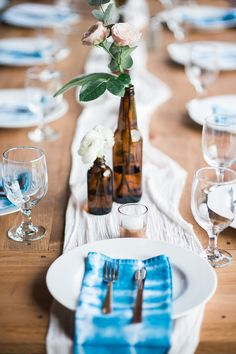 shibori napkin inspiration, also like the bottles with 1-2 flowers for centerpieces