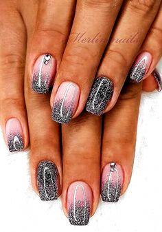 Glitter French Nails, Cute Acrylic Nails, Gel Nails With Glitter, Glitter Nail Polish, French Tip Nails, Dipped Nails, Nagel Gel, Gel Nail Designs, Nails Design