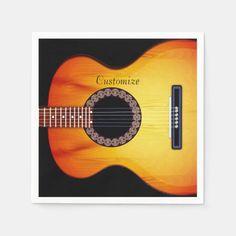 Shop Personalized Black Acoustic Guitar 2 Napkins created by ManCavePortal. Black Acoustic Guitar, Ecru Color, Cocktail Napkins, Paper Napkins, Portal, Colorful Backgrounds, I Shop, Paper Towels