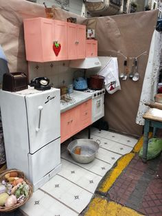 Kitchen made out of cardboard boxes