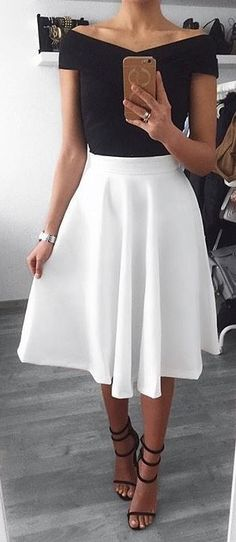 #summer #outfits  Black Off The Shoulder Top + White Skirt + Black Sandals✨