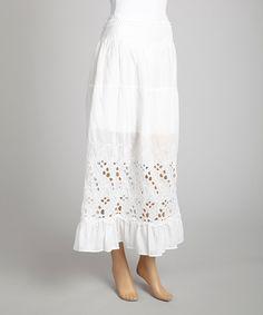 This Saga White Ruffle Eyelet Maxi Skirt by Saga is perfect! #zulilyfinds