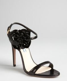 Prada black leather and patent flower sandals 86995528be9