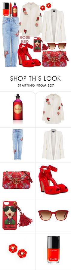 """""""Rose Red"""" by librarychic ❤ liked on Polyvore featuring Czech & Speake, Ashish, Citizens of Humanity, Armani Jeans, Gucci, Alexander McQueen, RALPH, Kate Spade, Chanel and Clinique"""