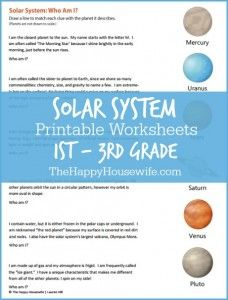 Download a free 4-page packet of solar system worksheets to supplement your unit study!