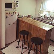 キッチン 2dk アメリカンポップ カウンターテーブルdiy 古いキッチン などのインテリア実例 2014 11 10 16 43 29 Roomclip ルームクリップ インテリア ソファ 配置 小さなキッチン