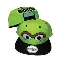 """SESAME STREET """"Oscar the Grouch"""" 2 Tone Snapback Hat Cap Lime Green... ❤ liked on Polyvore featuring accessories, hats, two tone hat, cap snapback, snapback cap, lime green hat and snap back hats"""
