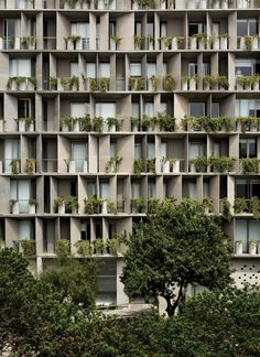 Curved concrete balconies front Lima apartments by Barclay & Crousse Concrete Facade, Concrete Building, Concrete Structure, High Building, Building Facade, Green Building, Innovative Architecture, Green Architecture, Architecture Details