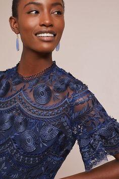 Slide View: 4: Shoshanna Blanche Embroidered Dress Anthropologie, Sari, Ruffle Blouse, Shopping, Tops, Dresses, Dance, Women, Fashion