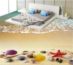 27.60$  Know more - http://aibo8.worlditems.win/all/product.php?id=32776670806 - Custom photo flooring wallpaper Beach starfish shell waves 3d mural PVC wear-resisting wallpaper self-adhesion floor wallpaper