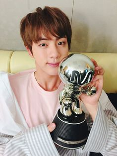 Jin ❤  [BTS Tweet] (I see two trophyssss or three because of sleepy Suga in the reflection) #BTS #방탄소년단