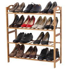 Entryway Shoe Rack 4-Tier Kids Safe Storage Shelf Organizer Hallway Bamboo Wood  #ShoeRack