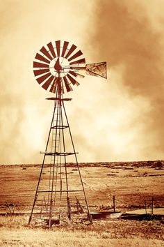Rustic Art windmill in a dust storm windmill by debbiesfineart
