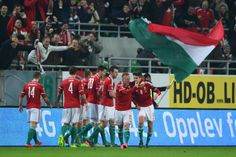 Hungarian players celebrate goal against Norway