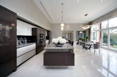 EXTREME Linear high gloss kitchen design in private mansion.