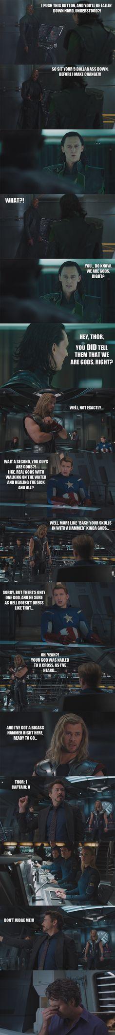 Thor: 1 Captain: 0 The Avengers - Gods: I by yourparodies.deviantart.com