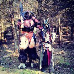 The Dread Shaman and Big Red - Instagram media by fantasyfabrikken #shaman #demon #bigred #lordofbones #larping #laiv #lajv #larp #cosplay #costume #mua #sfx #monster #movie #creature #orc #totem