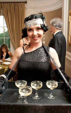 Premier Entertainment Agency in Houston, TX Flapper Party, Flapper Costume, 20s Party, Gatsby Themed Party, Great Gatsby Party, Prohibition Party, Cigarette Girl, Rockabilly Hair, Mystery Parties