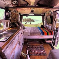 25 Inspiration Image of Best Inspiration Camper Van Decor. Since you may see, there are lots of ways you're able to build out a camper van, from an ultra-luxurious custom made build-out, to something cheaper t. Bus Camper, Camper Diy, Used Camper Vans, Hippie Camper, Bus Interior, Campervan Interior, Campervan Furniture, Custom Van Interior, Cool Campers