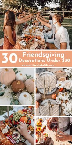 Host the BEST Friendsgiving dinner party with these 30 Cheap Friendsgiving decorations ideas under $30. Decorate your party with Friendsgiving table decor ideas, photo booth backdrop ideas, and a FREE Friendsgiving printable. Click the link to plan an unforgettable party with my list of unique Friendsgiving theme ideas. Fall Table Settings, Elegant Table Settings, Thanksgiving Table Settings, Christmas Table Settings, Theme Ideas, Party Ideas, Decor Ideas, Gift Ideas, Thanksgiving Diy