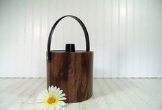 Retro Faux Wood Vinyl & Black Trim Ice Bucket  by DivineOrders, $23.00