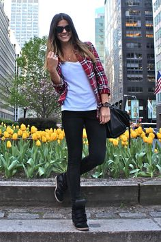 Flannel too, white tee, black leggings, wedge sneakers