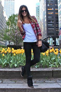 Flannel too, white tee, black leggings, wedge sneakers