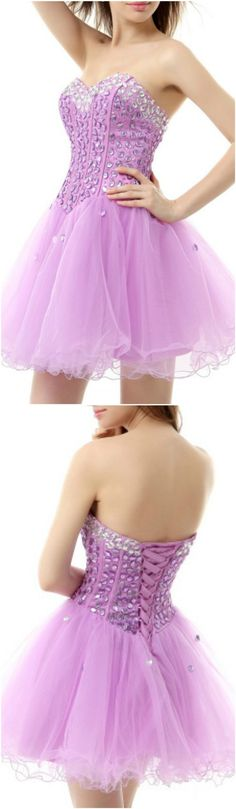 Enchanted 2016 Homecoming Dresses, Prom Dress, Lilac A-Line Sweetheart Short Tulle Prom Dress With Beading, Short/Mini A Line homecoming dress, 2016 homecoming dress. Find This Lovely Dress from GemGrace, Enjoy Free Shipping Today.