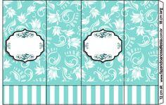 Rótulo Nescauzinho Azul Tiffany Floral e Listras: