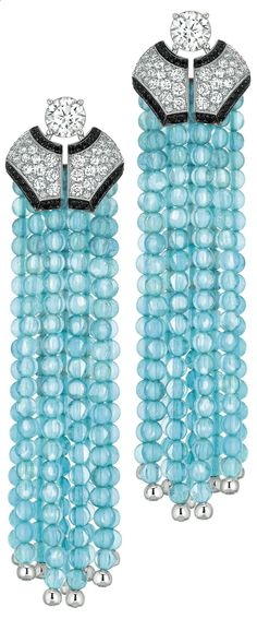 Cruise #Earrings from #CafeSociety - #Chanel - #FineJewelry collection in 18K white gold set with 110 #BrilliantCut - #Diamonds (4.2 cts), 244 aquamarine #Beads (101.4 cts) and 110 brilliant cut black #Spinels - July 2014