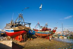 Fishermans boats in Essaouira, city in the western Morocco on the Atlantic coast. It has also been known by its Portuguese name of Mogador. Morocco north Africa.