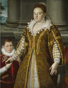 Portrait of Grand Duchess Bianca Cappello de' Medici with her son Antonio de' Medici. 1580-1614. by Alessandro Allori,1580s Dallas Museum of Art. Obra de Lavinia Fontana