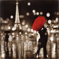 A Paris Kiss by Kate Carrigan--What is is with Paris and red umbrellas?