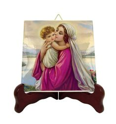 Religious icons - Madonna and Child icon on tile - Holy Mary and Jesus - religious gifts - catholic art - Catholic gifts - Virgin and Child Catholic Gifts, Catholic Prayers, Catholic Art, Religious Gifts, Religious Icons, Religious Art, Catholic Store, Tile Murals, Tile Art