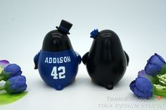 Custom Football Wedding Cake Toppers Sport Theme-Penguin Cake Toppers-Groom Wear NY Giants Football Jersey