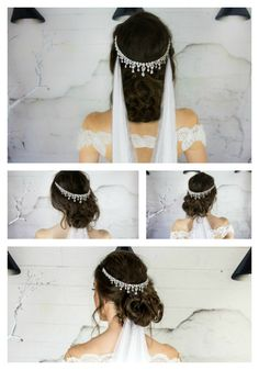 ❤ The Cinderella Headpiece ❤ A Unique Bridal Hair Piece made with cascading teardrop Cubic Zirconia Crystals on the highest quality rhodium plated silver base. The Cinderella headpiece comes with matching earrings.
