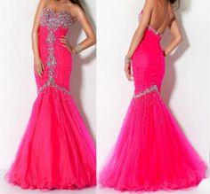 2013 Shinning Strapless Hot Pink Bridal Wedding Formal Prom Evening Gown Dress | eBay