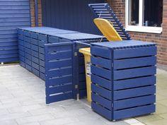 4er Mülltonnenbox Holz, für 120 L & 240 L Mülltonnen, Oberfläche: Deckend Geölt Blau