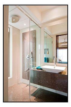 wash basin with glass door design idea by sameer panchal architect in mumbai maharashtra - Bathroom Designs In Mumbai