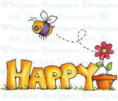 Bee Happy Bold - Bugs - Rubber Stamps - Shop